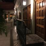 Walkway from parking lot to lobby