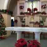 The altar area decorated for Christmas