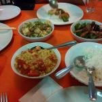 Egg tomato curry, pork roast capscum