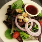 House Salad pictured with Huckleberry Vinaigrette Dressing