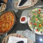 Delicious homemade pizza & salad for lunch