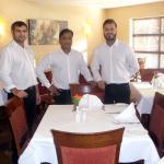 Cheerful waiter staff