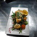 Ray jewels pan fried in honey and lemon served on a Thai dressed crisp salad finished with sesam