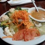 ENORMOUS house salad with peanut sauce