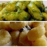 Gnocchi pesto, gnocchi gorgonzola.