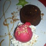 Chocolate lava cake with raspberry sorbet