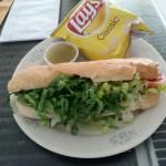 This is the Italian Hoagie before I removed the lettuce.  Looks good but there wasn't much under