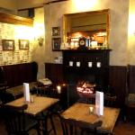 The small bar and its nice little fire
