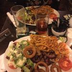 Steak night !  Juicy steak , fresh Crispy salad and curly chips  Beautiful !