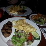 Delicious steak, chips and red wine 10.95eur