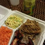 Combo plate: char sui chicken,  kalua pig, two scoops purple sticky rice, macaroni salad, carrot