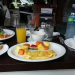 Omlette breakfast and huevos racheros