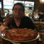 Enjoying the Stelios coal fired pizza