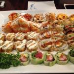 Sushi (top)Surf, Volcano, Crunchy Shrimp, Beef tempura, Hollywood and Summer roll at the bottom