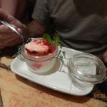 Strawberry custard in a jar