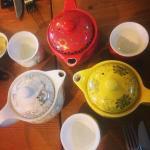 Strawberry & chocolate tea, rose tea and peach green tea.