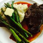 Saturday Steak Night: Filet with Cherry Balsamic Reduction, Mashed Potatoes and grilled Asparagu