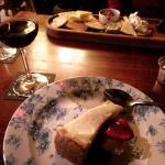 Lemon cheesecake and the cheeseboard.