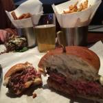 juicy warm & pink medium rare - a perfect truffle burger w/fries and beer