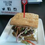 my Asian burger with spicy mushrooms, Asian Slaw and goat chees