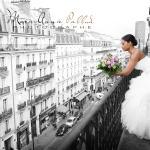 Vue de Paris par le balcon de la chambre.