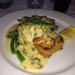 Grumpy's special grilled snapper with lemon butter sauce, potato gratin stack & green veges