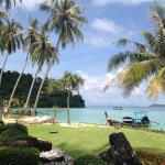 Vista da praia privativa do hotel