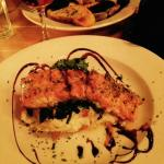 Salmon with orange sauce over mashed potatoes