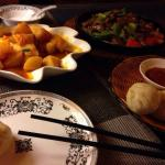 Potatoes, steamed buns and yak meat