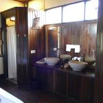 Bathroom in wooden villa, Mrauk Oo Princess Resort