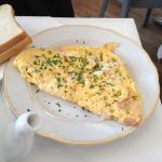 Huge cheese omelette