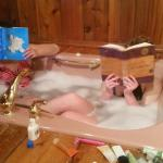 Jacuzzi tub in the bunkhouse was fun