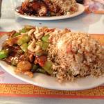 Lunch .. Cashew chicken & sesame chicken