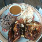 Jerk chicken, rice and beans, coleslaw