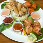 Port Side Platter, Coconut Shrimp,Conch Fritters, Mozza Sticks and Battered Conch