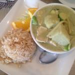 Green Chicken Curry (with a request for potatoes) and brown rice