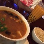 Tom yum soup :) and Thai tea with boba