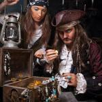 Calico Jack & Anne Bonny Counting Treasure at Pirates Quest Newquay