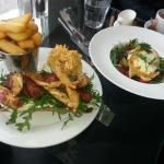 Chicken and Chorizo Burger and Goats Cheese Salad