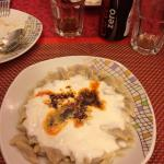 Kind of capeleti with yogurt