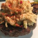 Sirloin topped with crab