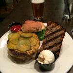 Bentley Burger with blue cornbread and cream ale