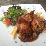 200g chicken thigh fillet with muchroom sauce.