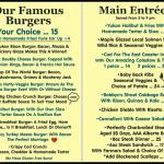 Our New Burger & Main Entrees Menu