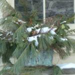 Winter arrangements at the holiday grace the mansion and grounds.