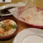 Hummus and pita.