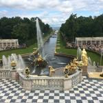 Peterhof gardens. Versailles only the fountains work.