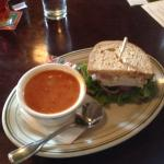 Great combo!  1/2 turkey sandwich and cup of spicy African peanut chicken soup.