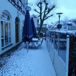 Hotel cafe patio...covered with snow