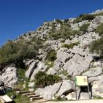 Pileta Caves: Parking area and steps up to cave entrance.
